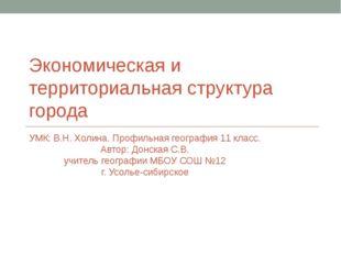 Экономическая и территориальная структура города УМК: В.Н. Холина. Профильная