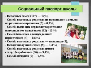 Социальный паспорт школы - Неполных семей (187) — 16%; - Семей, в которых род