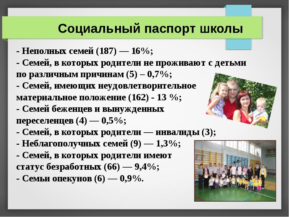 Социальный паспорт школы - Неполных семей (187) — 16%; - Семей, в которых род...