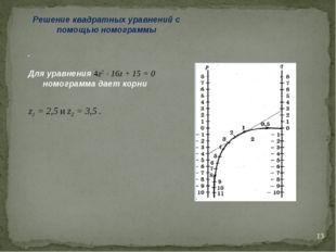 * Решение квадратных уравнений с помощью номограммы . Для уравнения 4z2 - 16z