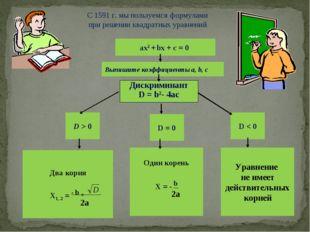 ах2 + bх + с = 0 Выпишите коэффициенты a, b, c Дискриминант D = b2- 4ac D > 0