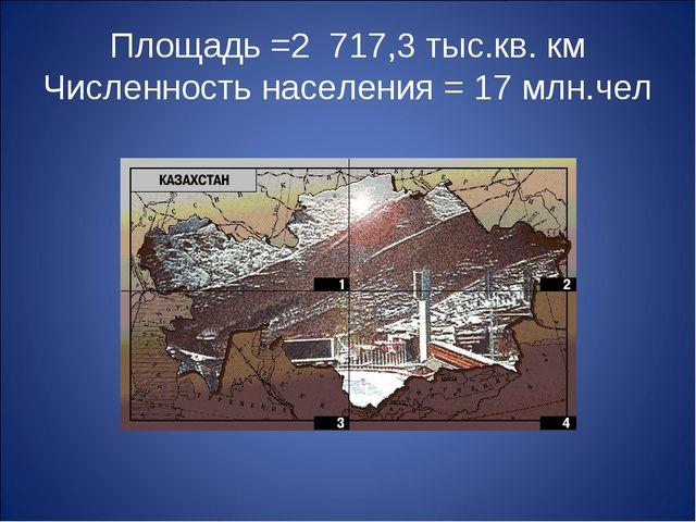 Площадь =2 717,3 тыс.кв. км Численность населения = 17 млн.чел