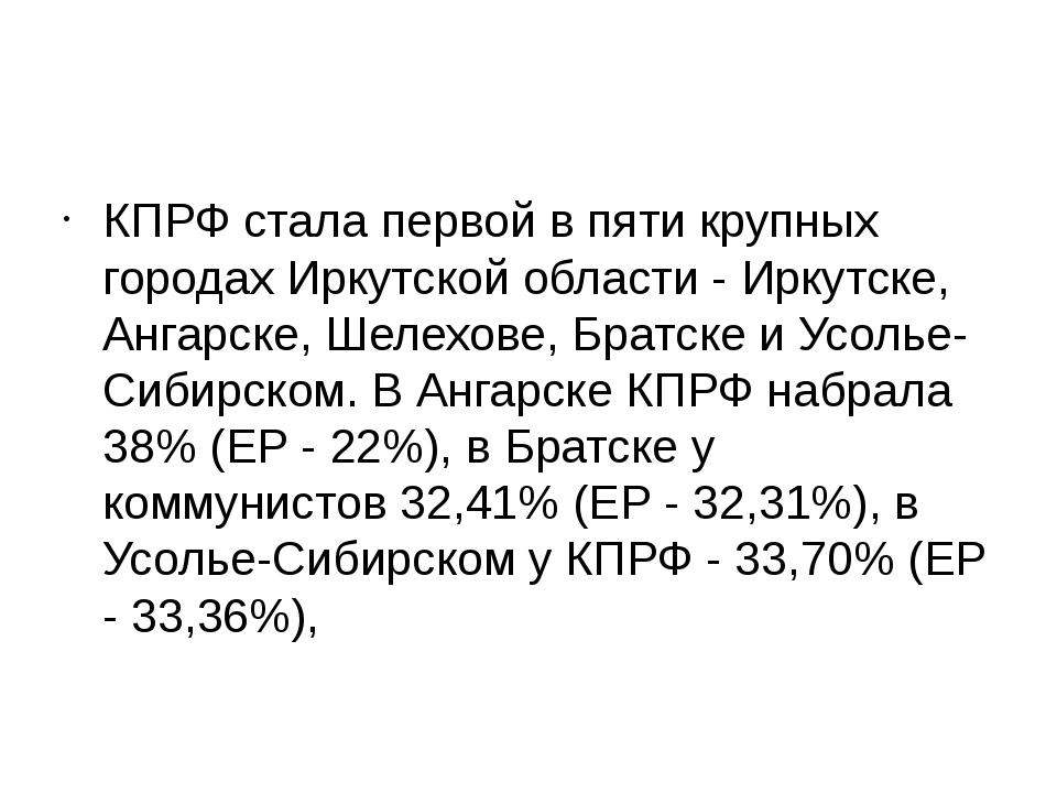 КПРФ стала первой в пяти крупных городах Иркутской области - Иркутске, Ангар...