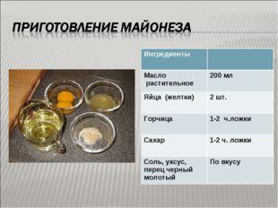 Ингредиенты  Масло растительное 200 мл Яйца (желтки)2 шт. Горчица 1-2 ч.л
