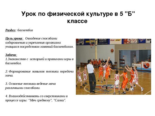 """Урок по физической культуре в 5 """"Б"""" классе Раздел: баскетбол Цель урока: Овла..."""