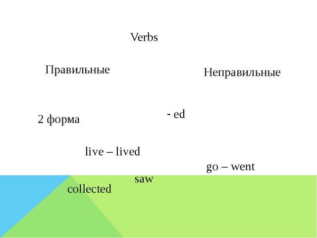 Verbs Правильные Неправильные live – lived go – went - ed 2 форма saw collec...