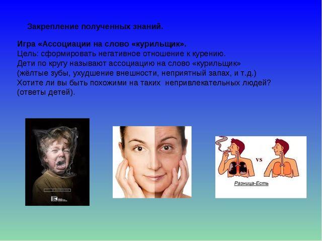 Игра «Ассоциации на слово «курильщик». Цель: сформировать негативное отношени...