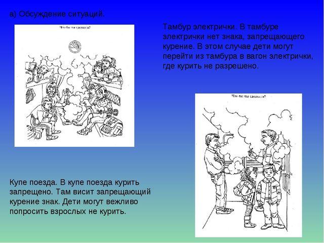 а) Обсуждение ситуаций. Купе поезда. В купе поезда курить запрещено. Там виси...