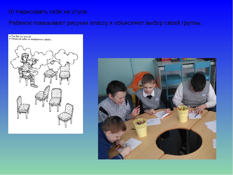 б) Нарисовать себя на стуле. Ребенок показывают рисунки классу и объясняют вы...