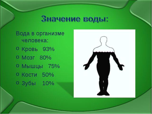 Вода в организме человека: Кровь 93% Мозг 80% Мышцы 75% Кости 50% Зубы 10%