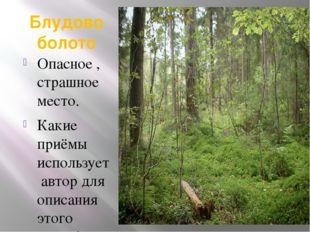 Блудово болото Опасное , страшное место. Какие приёмы использует автор для оп