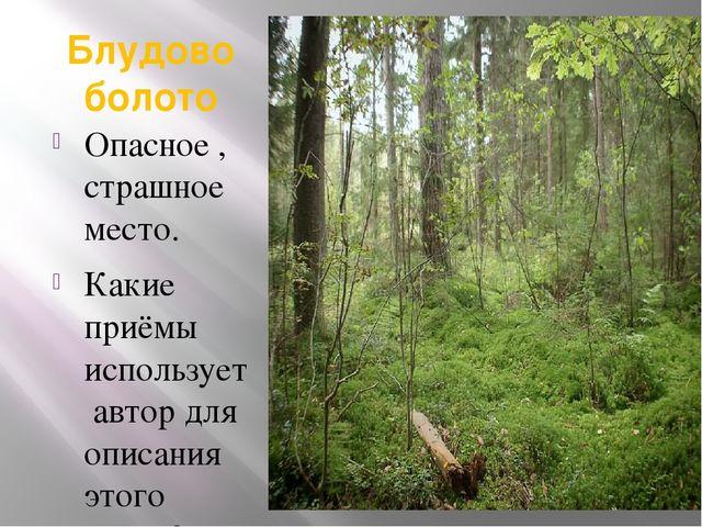 Блудово болото Опасное , страшное место. Какие приёмы использует автор для оп...