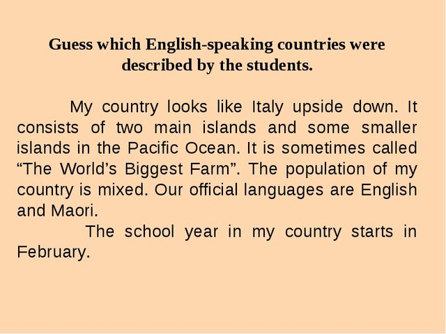 Guess which English-speaking countries were described by the students. My cou...