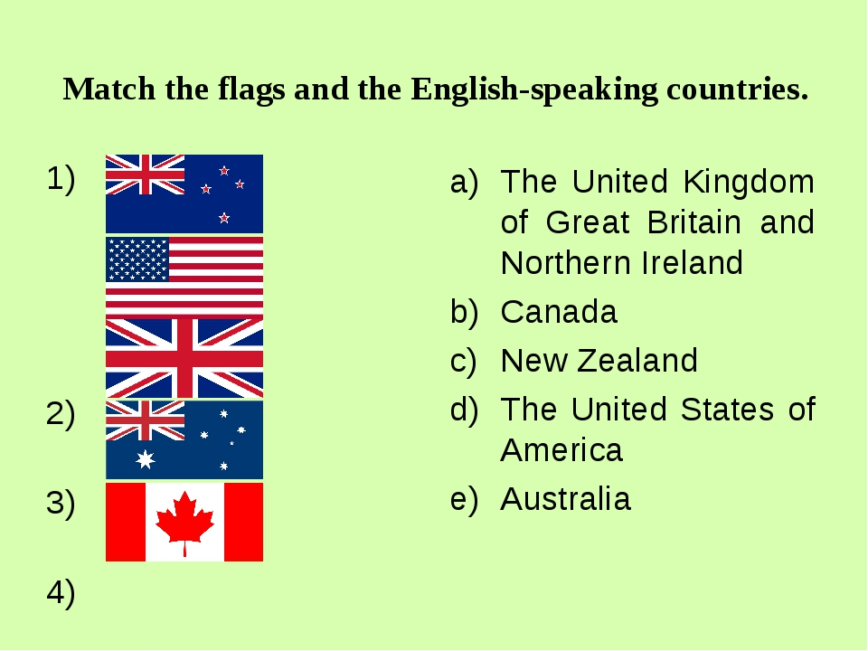 Match the flags and the English-speaking countries. 2) 3) 4) 5) The United Ki...