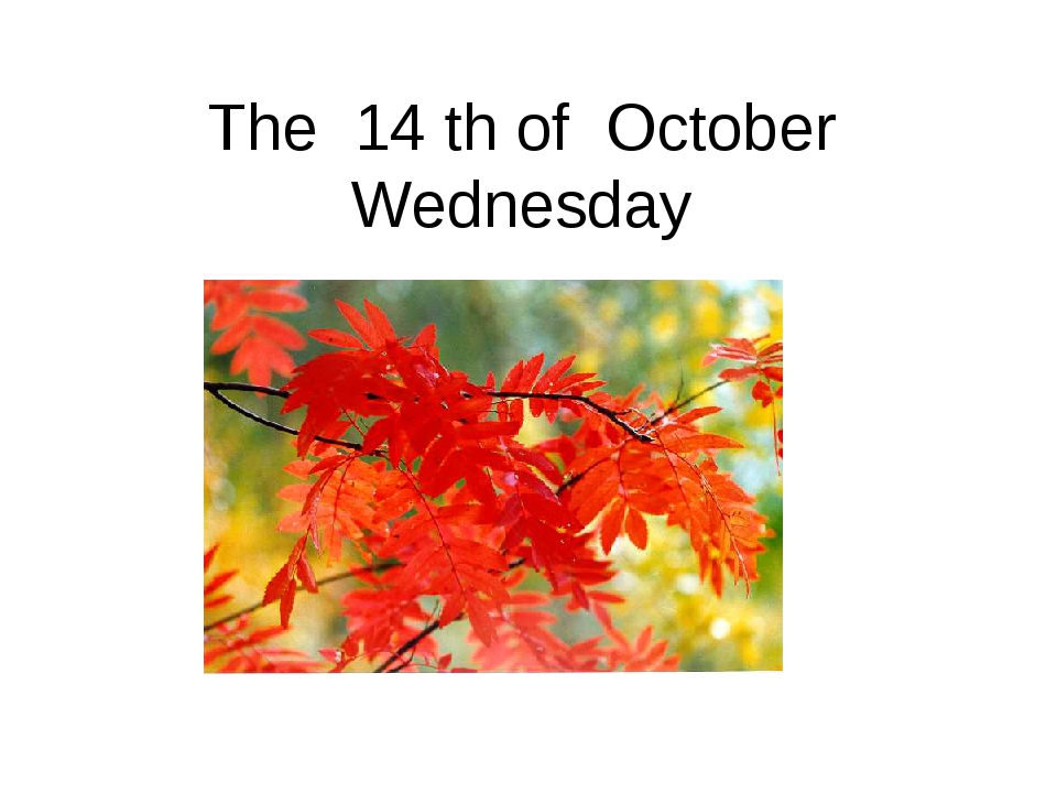 The 14 th of October Wednesday