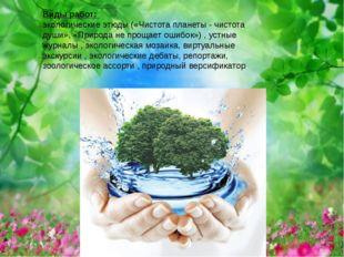 Виды работ: экологические этюды («Чистота планеты - чистота души», «Природа н