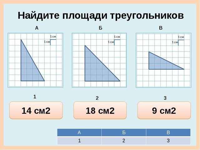 15 см2 12 см2 14 см2 Найдите площади треугольников 18 см2 36 см2 18 см2 8 см2...