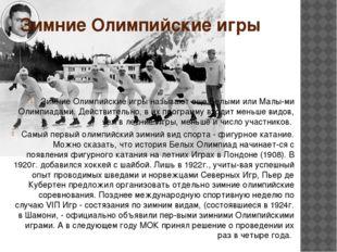Зимние Олимпийские игры Зимние Олимпийские игры называют еще Белыми или Малы