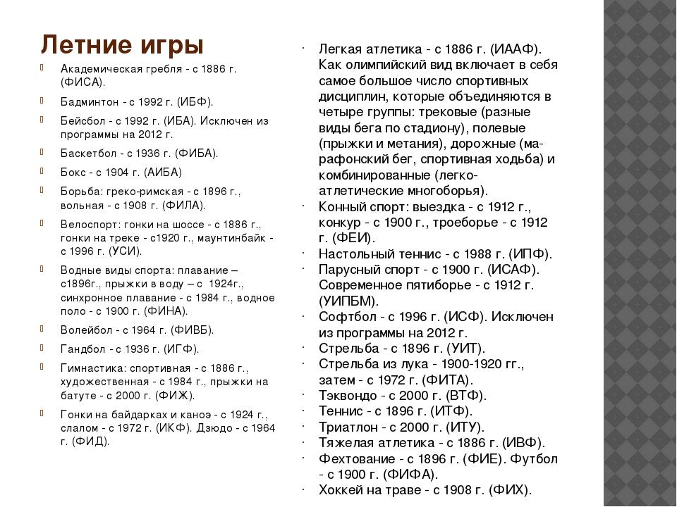 Летние игры Академическая гребля - с 1886 г. (ФИСА). Бадминтон - с 1992 г. (И...