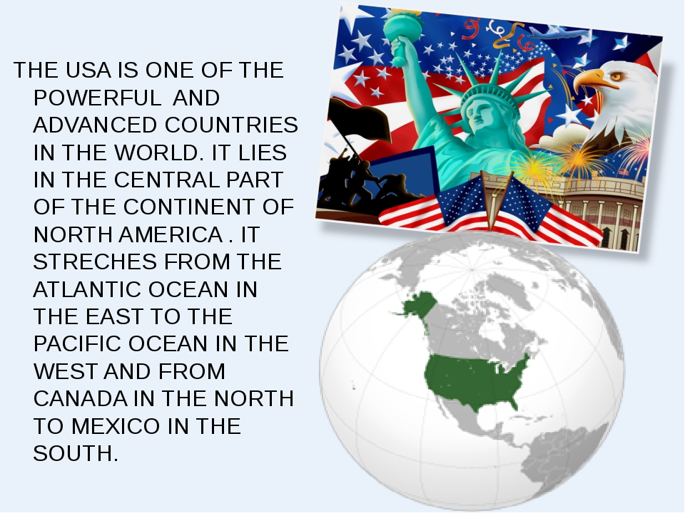 THE USA IS ONE OF THE POWERFUL AND ADVANCED COUNTRIES IN THE WORLD. IT LIES...