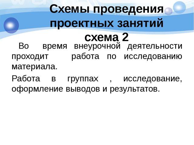Схемы проведения проектных занятий схема 2 Во время внеурочной деятельности п...