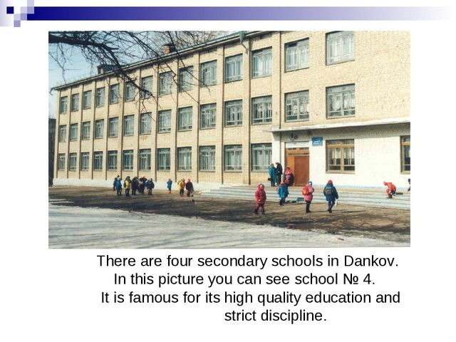 There are four secondary schools in Dankov. In this picture you can see scho...