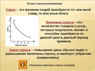 Рынок и рыночный механизм Спрос – это желание людей приобрести тот или иной т