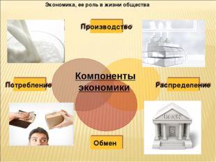 Экономика, ее роль в жизни общества Компоненты экономики