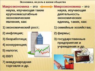 Экономика, ее роль в жизни общества Макроэкономика – это наука, изучающая так