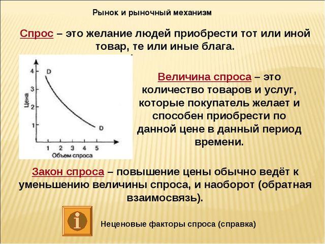 Рынок и рыночный механизм Спрос – это желание людей приобрести тот или иной т...