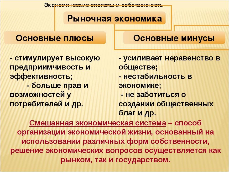 Экономические системы и собственность Смешанная экономическая система – спосо...