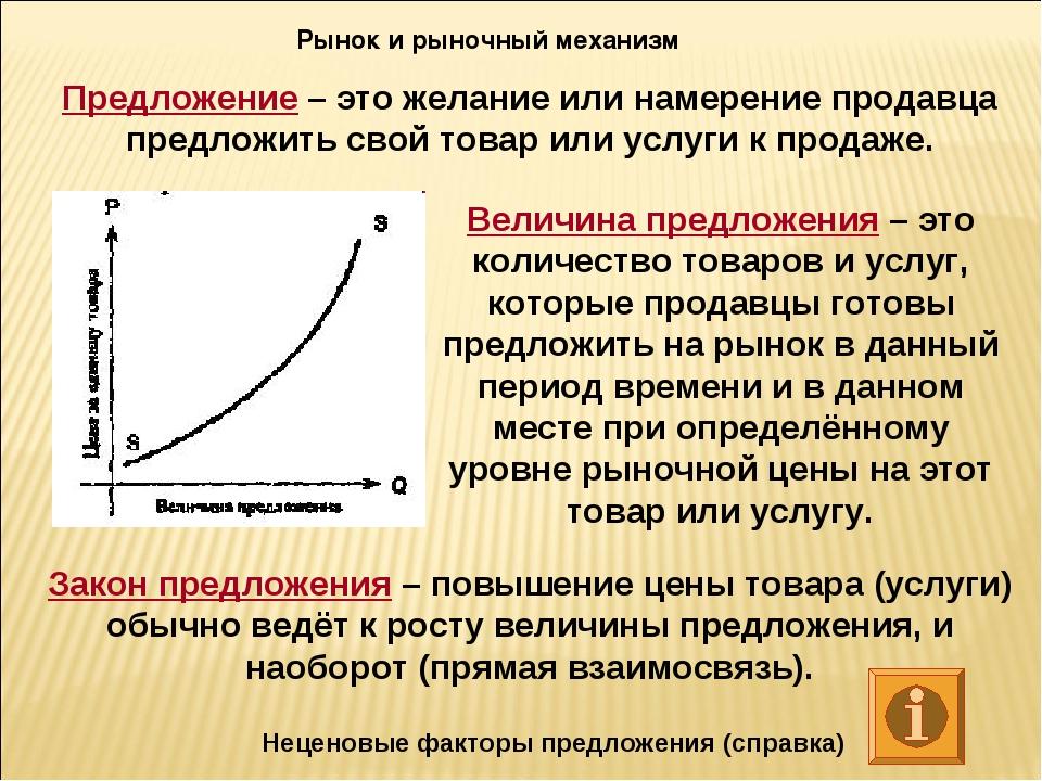 Рынок и рыночный механизм Предложение – это желание или намерение продавца пр...