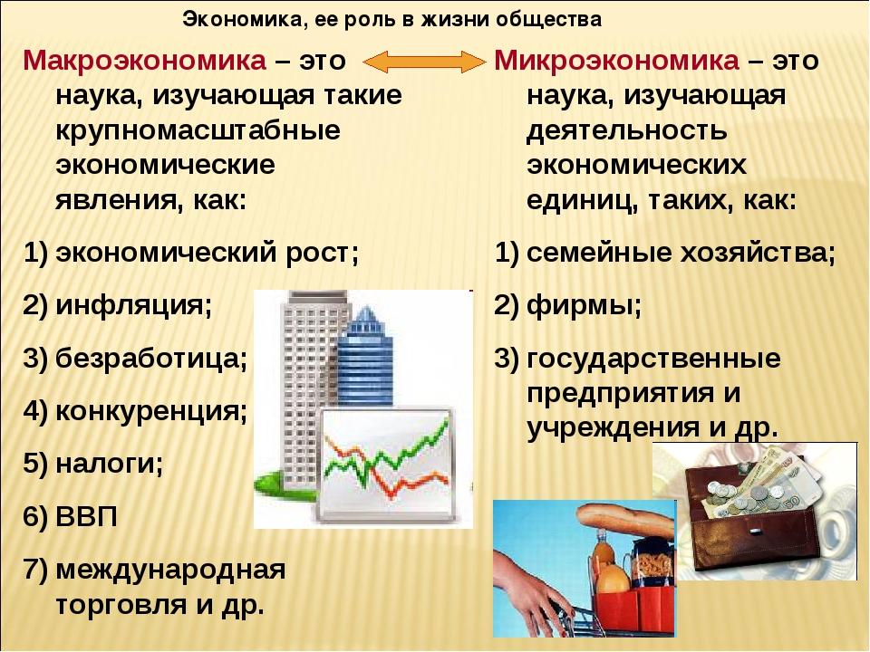 Экономика, ее роль в жизни общества Макроэкономика – это наука, изучающая так...