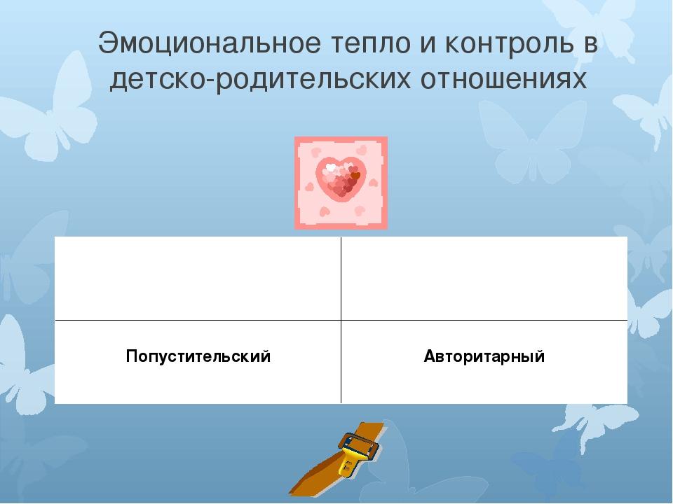 Эмоциональное тепло и контроль в детско-родительских отношениях Демократичный...