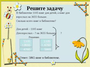 Решите задачу В библиотеке 1105 книг для детей, а книг для взрослых на 3655 б
