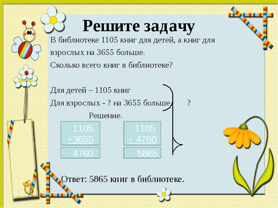 Решите задачу В библиотеке 1105 книг для детей, а книг для взрослых на 3655 б...