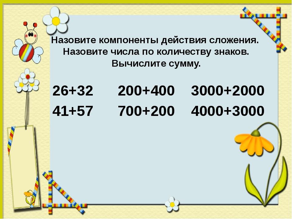 Назовите компоненты действия сложения. Назовите числа по количеству знаков. В...