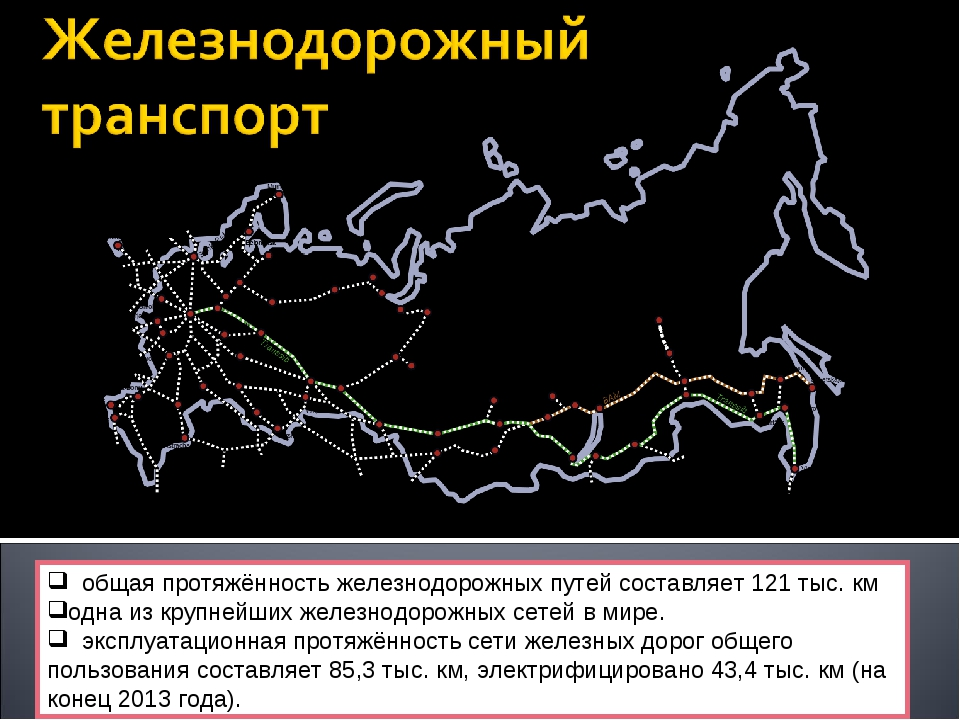 общая протяжённость железнодорожных путей составляет 121 тыс. км одна из кру...