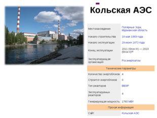 Кольская АЭС  МестонахождениеПолярные Зори, Мурманская область Начало стро