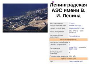 Ленинградская АЭС имени В. И. Ленина  МестонахождениеРоссия Начало строит