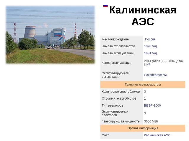 Калининская АЭС  МестонахождениеРоссия Начало строительства1978 год Нача...