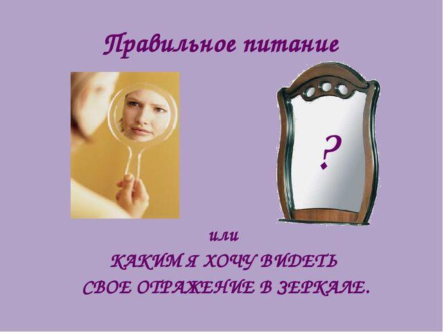 Правильное питание или КАКИМ Я ХОЧУ ВИДЕТЬ СВОЕ ОТРАЖЕНИЕ В ЗЕРКАЛЕ. ?