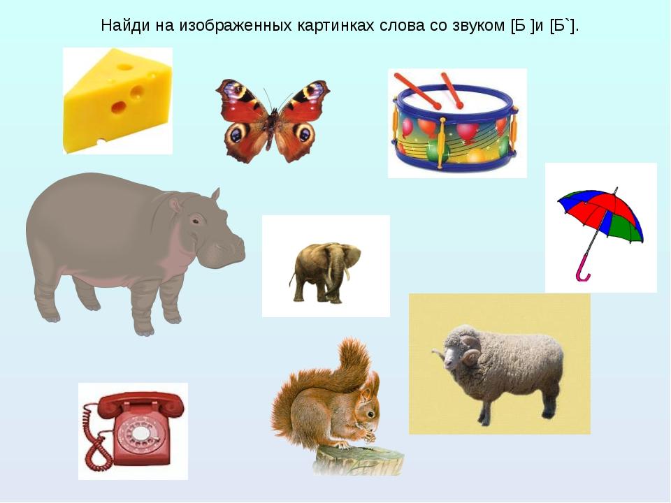 Найди на изображенных картинках слова со звуком [Б ]и [Б`]. Найди на изображе...