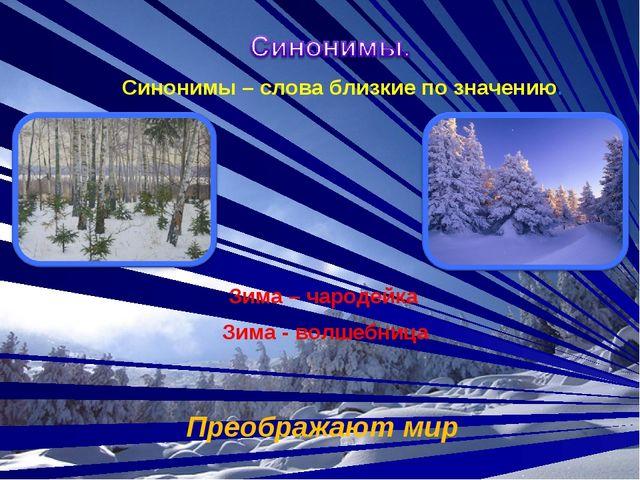 Синонимы – слова близкие по значению. Зима – чародейка Зима - волшебница Пре...