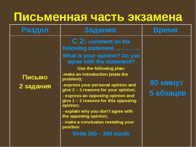 Письменная часть экзамена