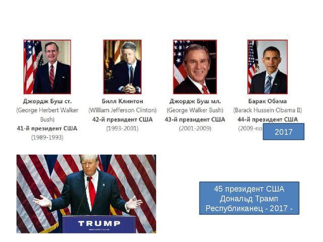 2017 45 президент США Дональд Трамп Республиканец - 2017 -