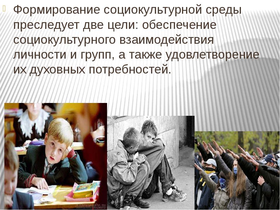 Формирование социокультурной среды преследует две цели: обеспечение социокуль...