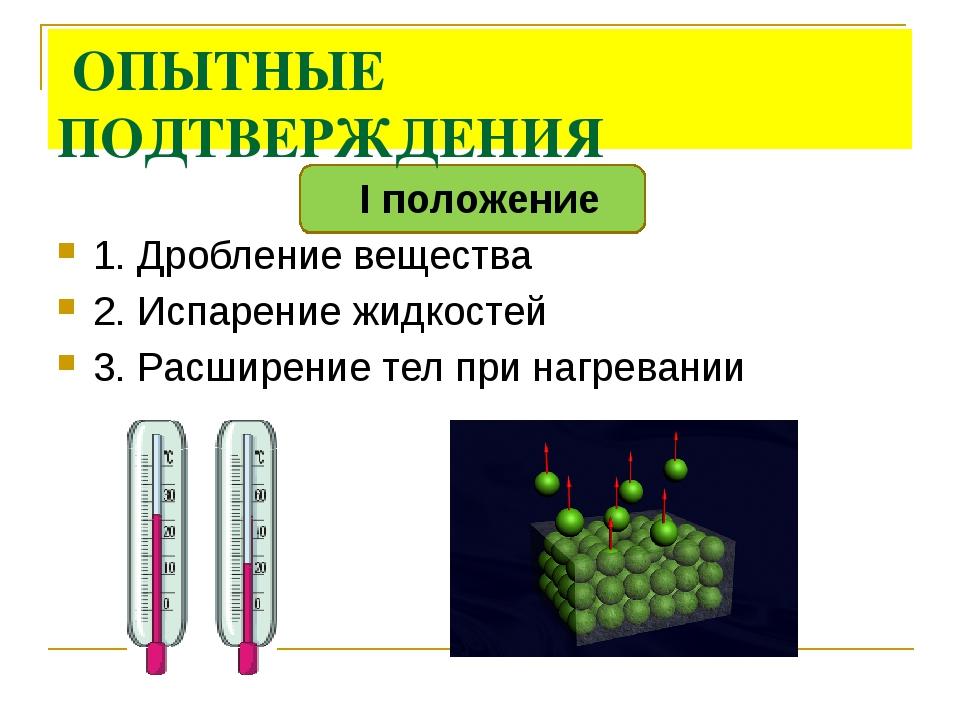 ОПЫТНЫЕ ПОДТВЕРЖДЕНИЯ I положение 1. Дробление вещества 2. Испарение жидкост...