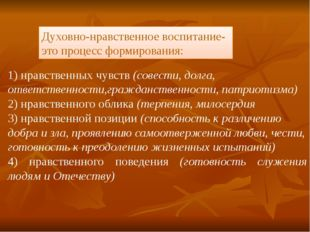 1) нравственных чувств (совести, долга, ответственности,гражданственности, па