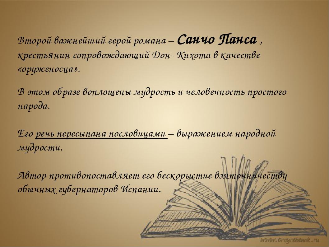 Второй важнейший герой романа – Санчо Панса , крестьянин сопровождающий Дон-...